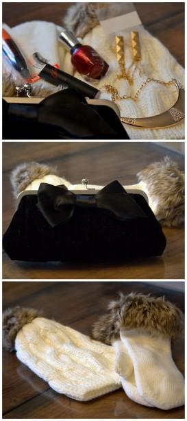 Pochette cadeau bizou, vernis sally hansen, mitaines, tuque, rimmel, rouge à lèvres Kate